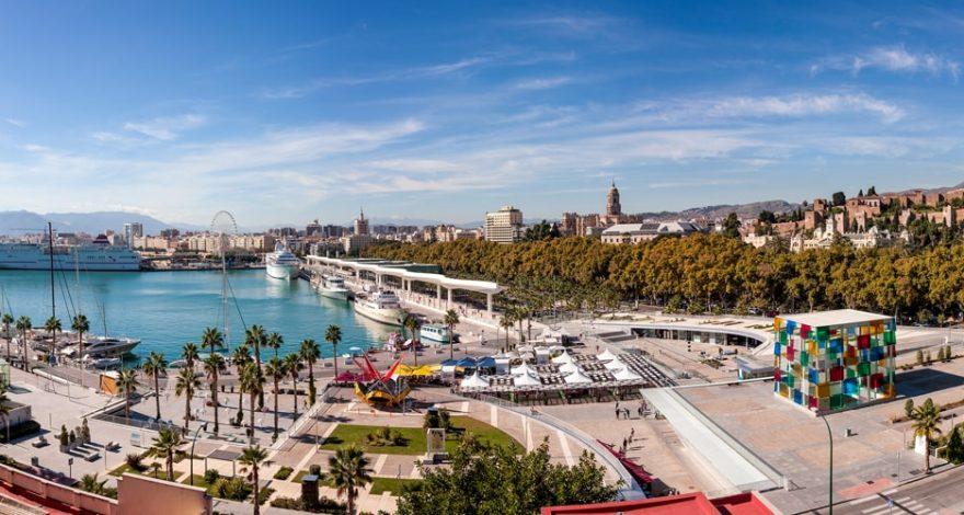 Vista aérea del Muelle Uno, Málaga