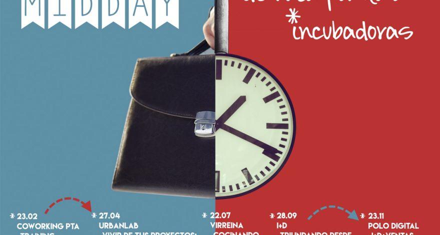 Cartel de Midday con las fechas para visitar incubadoras empresariales