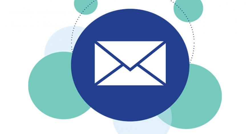 Varios círculos azules, en uno de ellos aparece un logo de email marketing