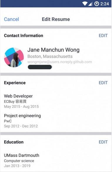 CV en Facebook