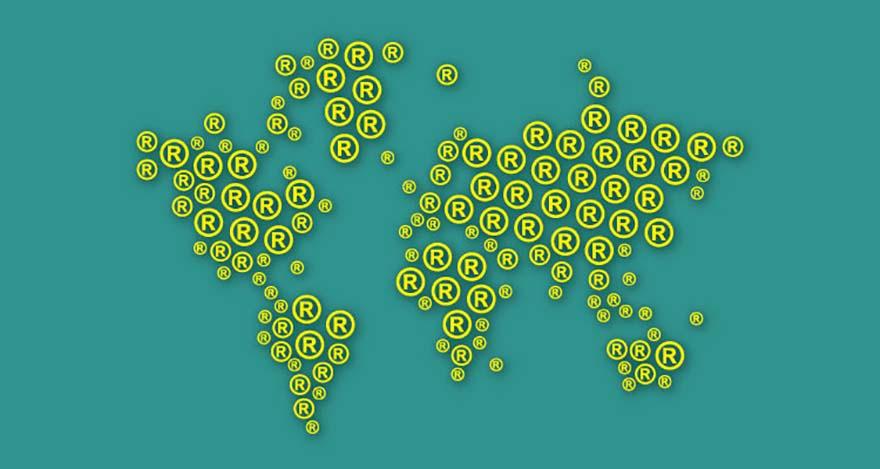Un Mapa del Mundo formado de símbolos de marca registrada