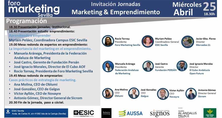 Cartel con los participantes y programa del foro de marketing en Sevilla Aprendiendo a aprender