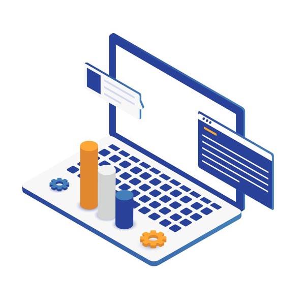 Iconos de un portátil con gráficos y webs