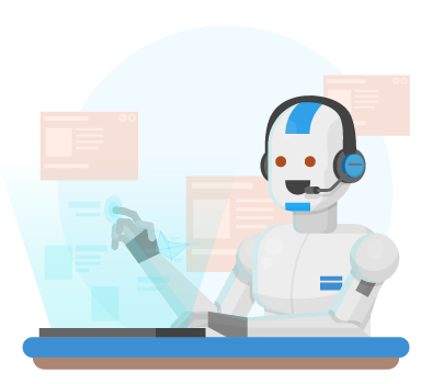 Icono de un robot analizando datos y estudiando el mercado