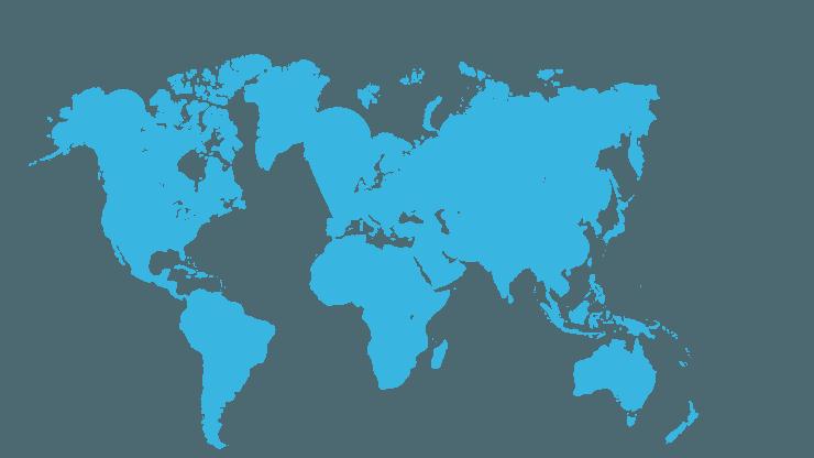 Mapa del mundo con varios puntos marcados