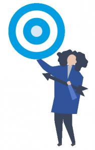 Icono de una mujer son una diana y una flecha