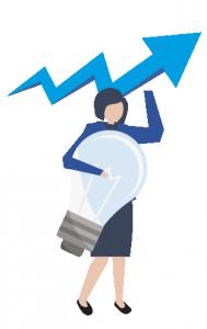 Icono de mujer con una gráfico y bombilla