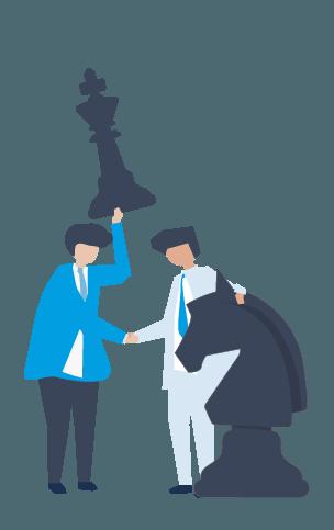 Icono de dos personas con piezas de ajedrez, hace referencia al apartado estratégico del marketing