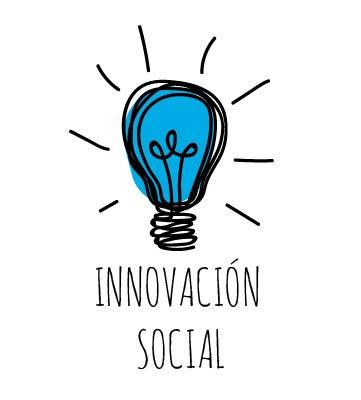 Icono de bombilla encendida y el texto innovación social