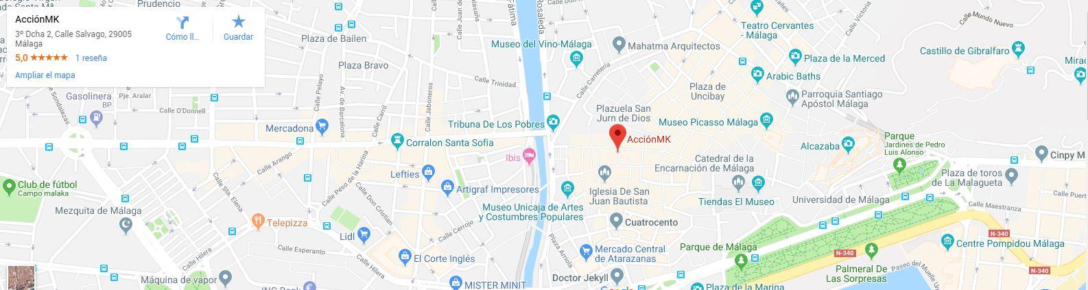 Mapa del callejero del centro de Málaga, en él está marcado la ubicación de AcciónMK