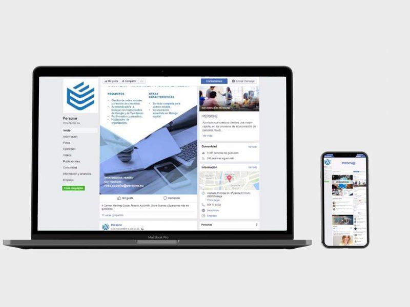 Mockup de un portátil con la página web de PERSONE