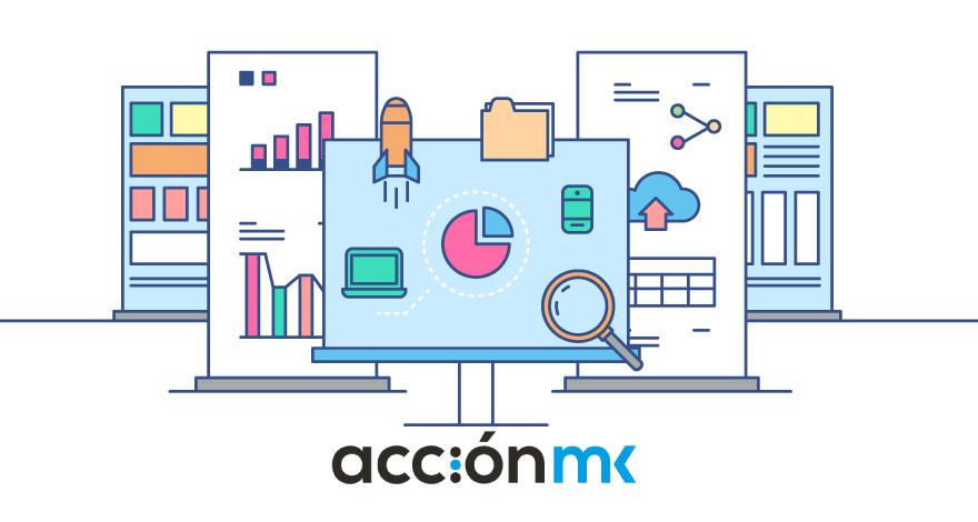 Iconos de gráficos y marketing digital acompañados del logo de AcciónMK