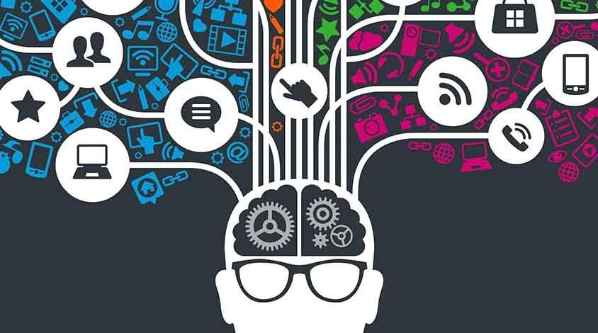 Icono de una cabeza de una persona de la que salen muchas ideas