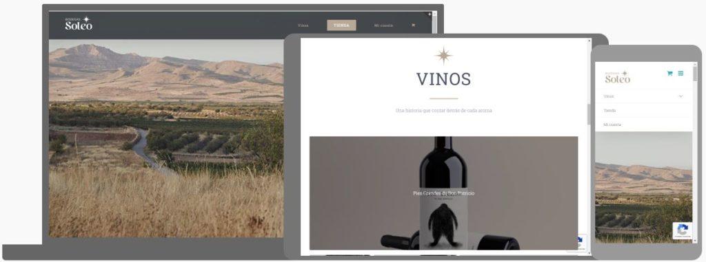 Página web de Bodegas Soleo vista en pantalla de ordenador, tablet y móvil