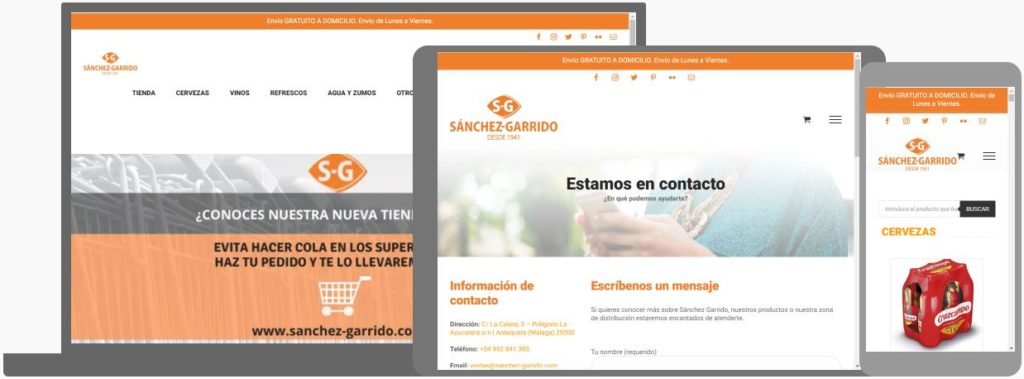 Web de Sánchez Garrido vista en pantalla de ordenador, tablet y móvil