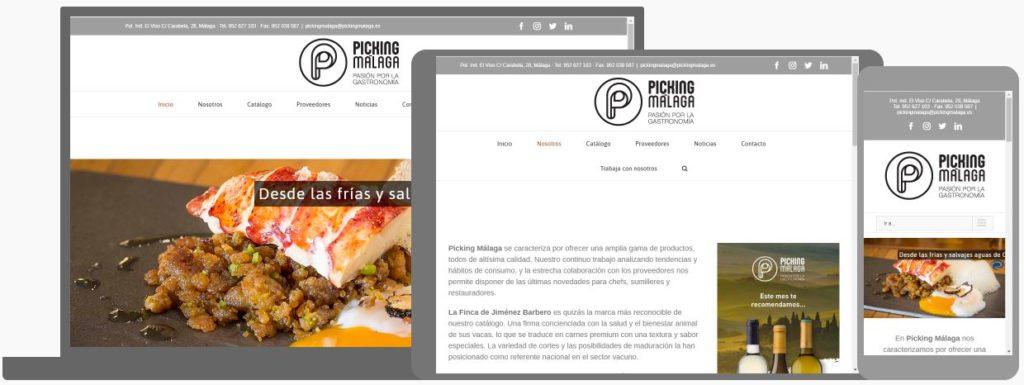 Web de Picking Málaga vista en pantalla de ordenador, tablet y móvil